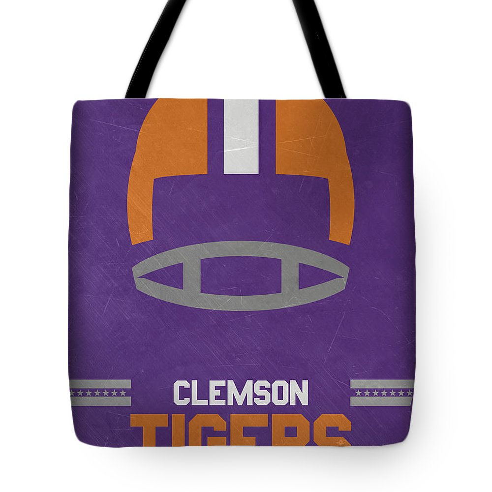 Tigers Tote Bag featuring the mixed media Clemson Tigers Vintage Football Art by Joe Hamilton