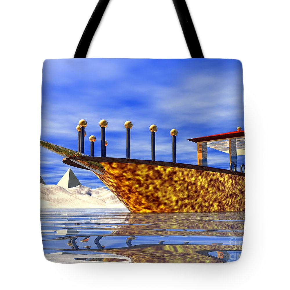 Cleopatra Tote Bag featuring the digital art Cleopatra's Barge by Nicholas Burningham