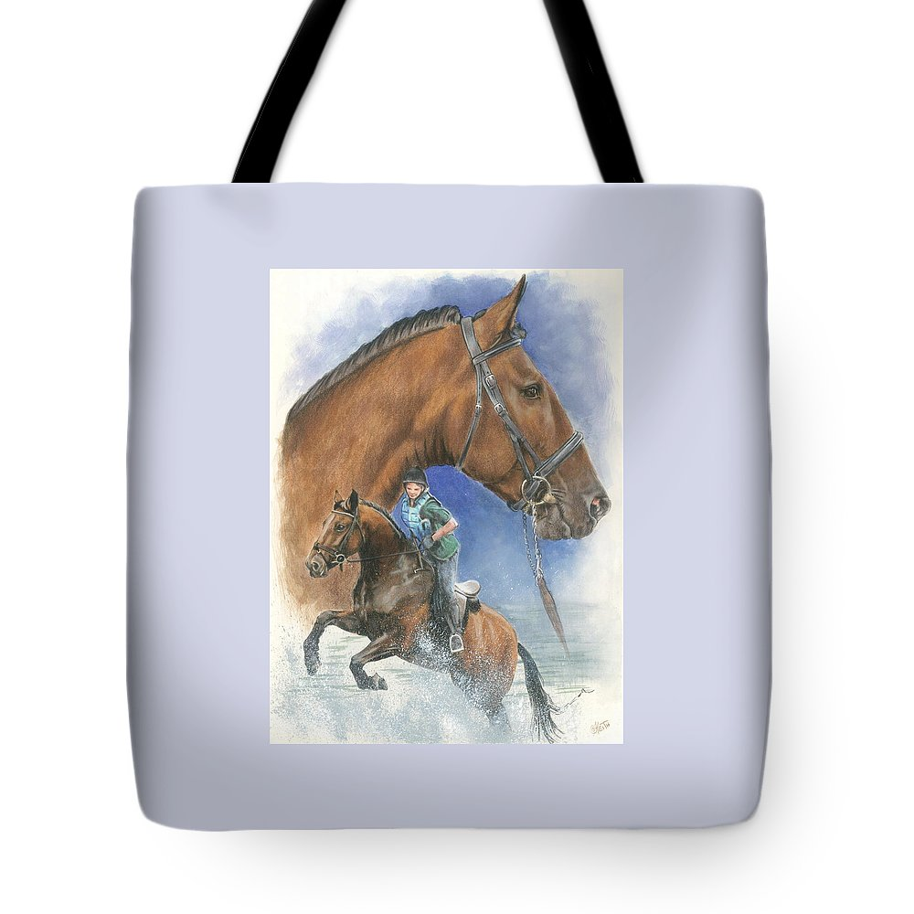 Hunter Jumper Tote Bag featuring the mixed media Cleveland Bay by Barbara Keith