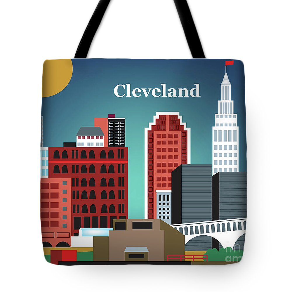Cleveland Tote Bag featuring the digital art Cleveland Ohio Horizontal Skyline by Karen Young