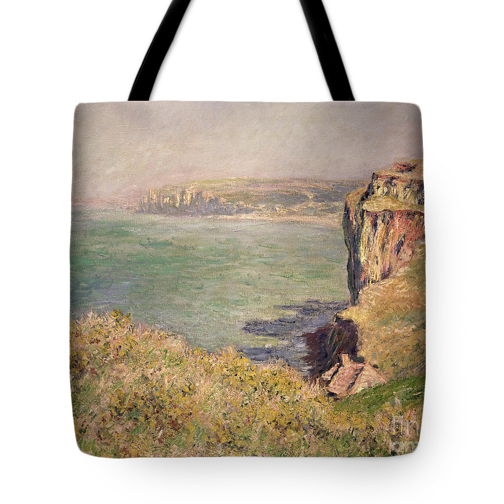 Cliff Tote Bag featuring the painting Cliff at Varengeville by Claude Monet