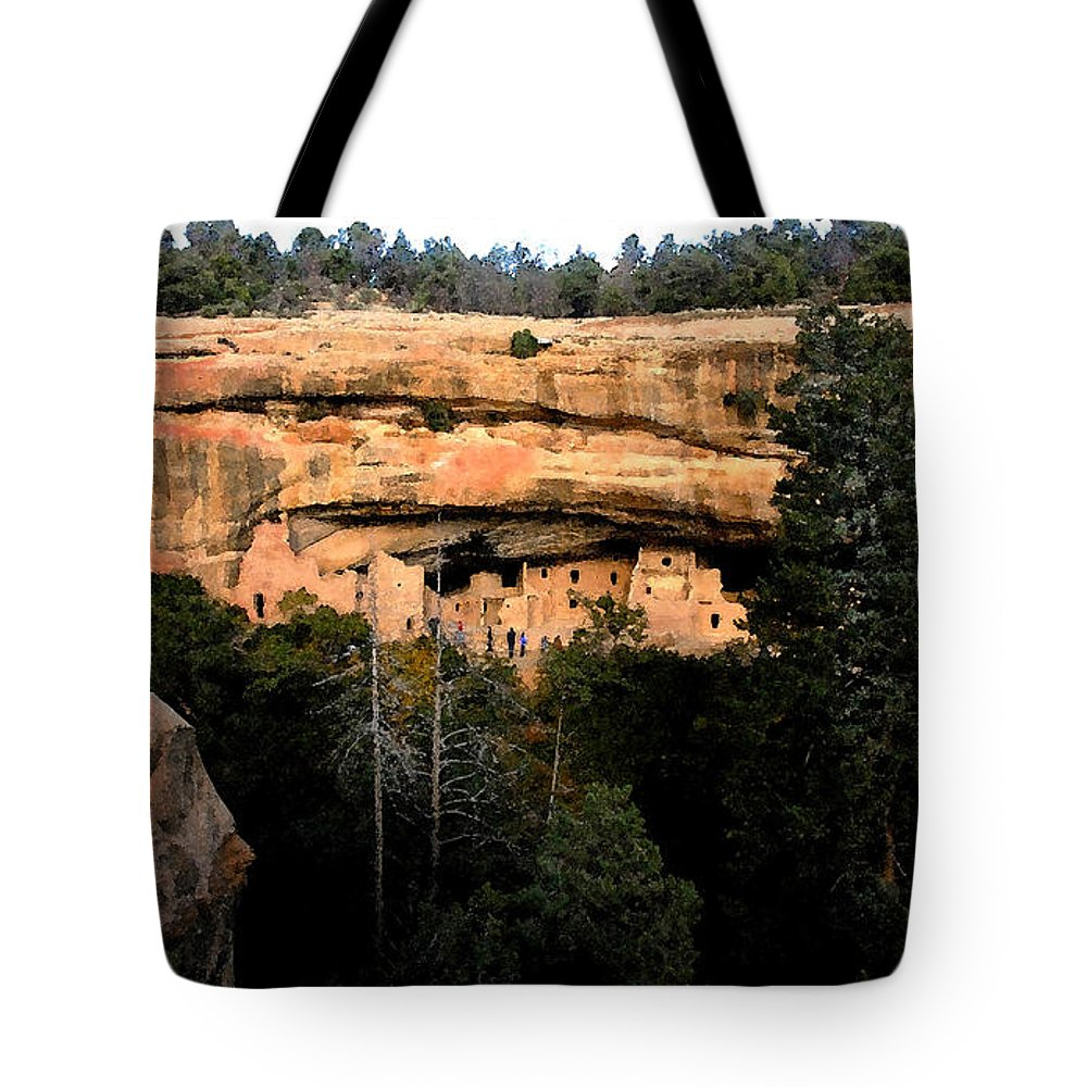 Cliff Dwellings Tote Bag featuring the painting Cliff Dwelling by David Lee Thompson