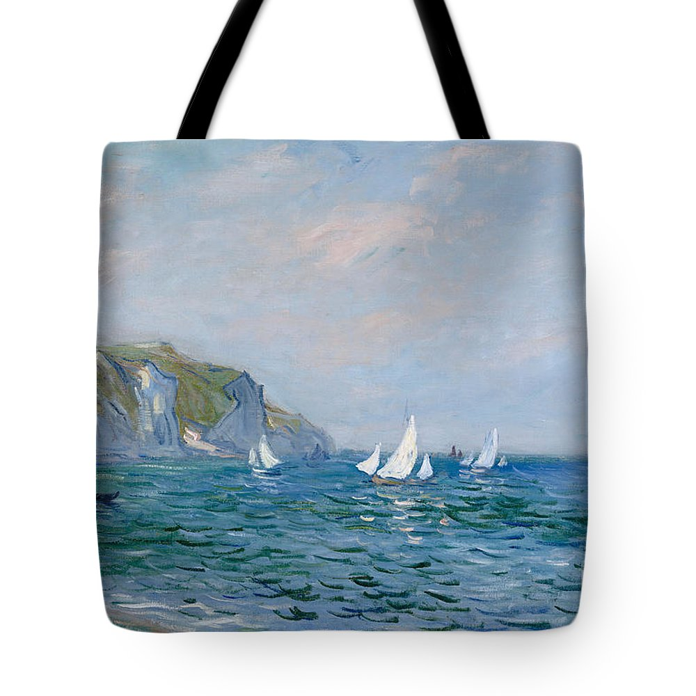 Cliffs And Sailboats At Pourville (oil On Canvas) Impressionism; Impressionist; Seascape; Sea; Ocean; Boat; Sailing; Sail; Yacht; Cliff; Monet Tote Bag featuring the painting Cliffs And Sailboats At Pourville by Claude Monet
