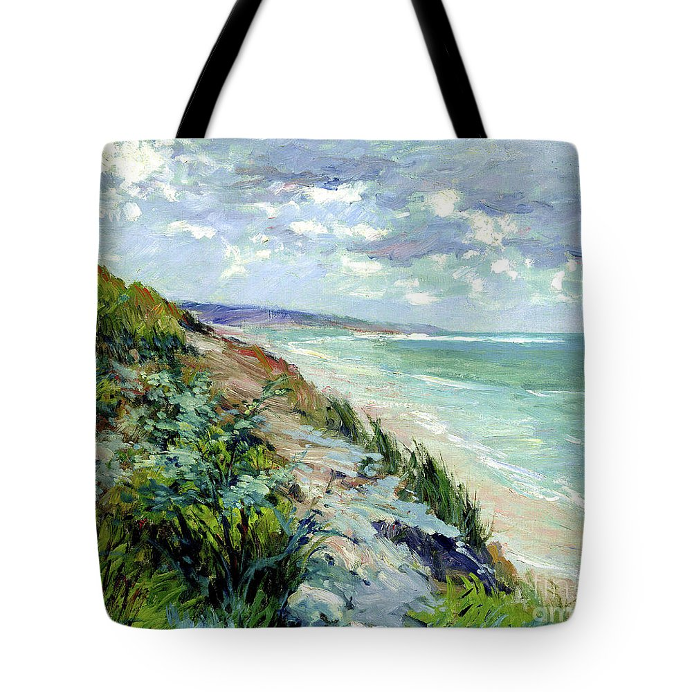 Paris Tote Bag featuring the painting Cliffs By The Sea At Trouville by Gustave Caillebotte