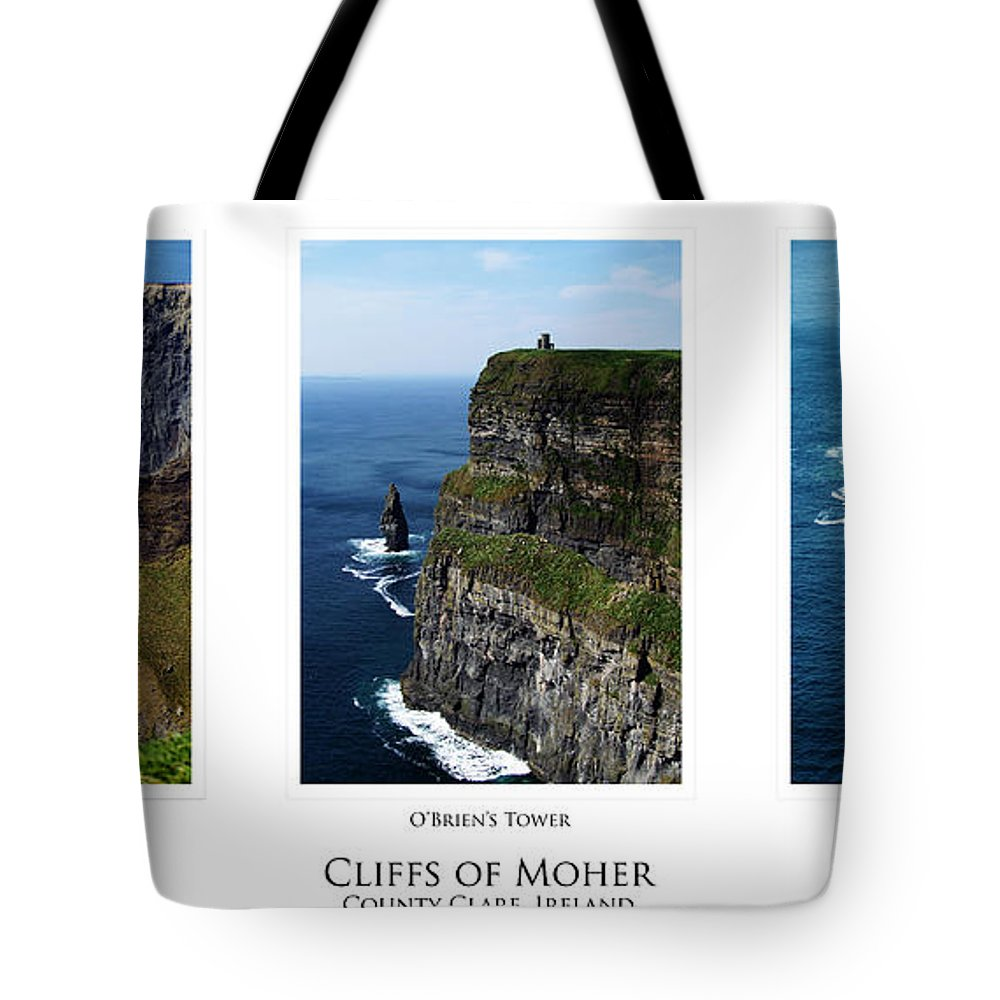 Irish Tote Bag featuring the photograph Cliffs Of Moher Ireland Triptych by Teresa Mucha