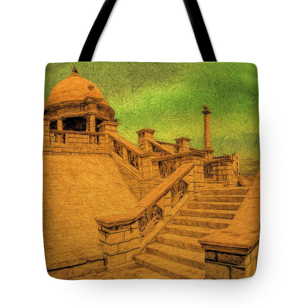 Architecture Tote Bag featuring the digital art Clifton Monument At Jehangir Kothari Parade by Syed Muhammad Munir ul Haq