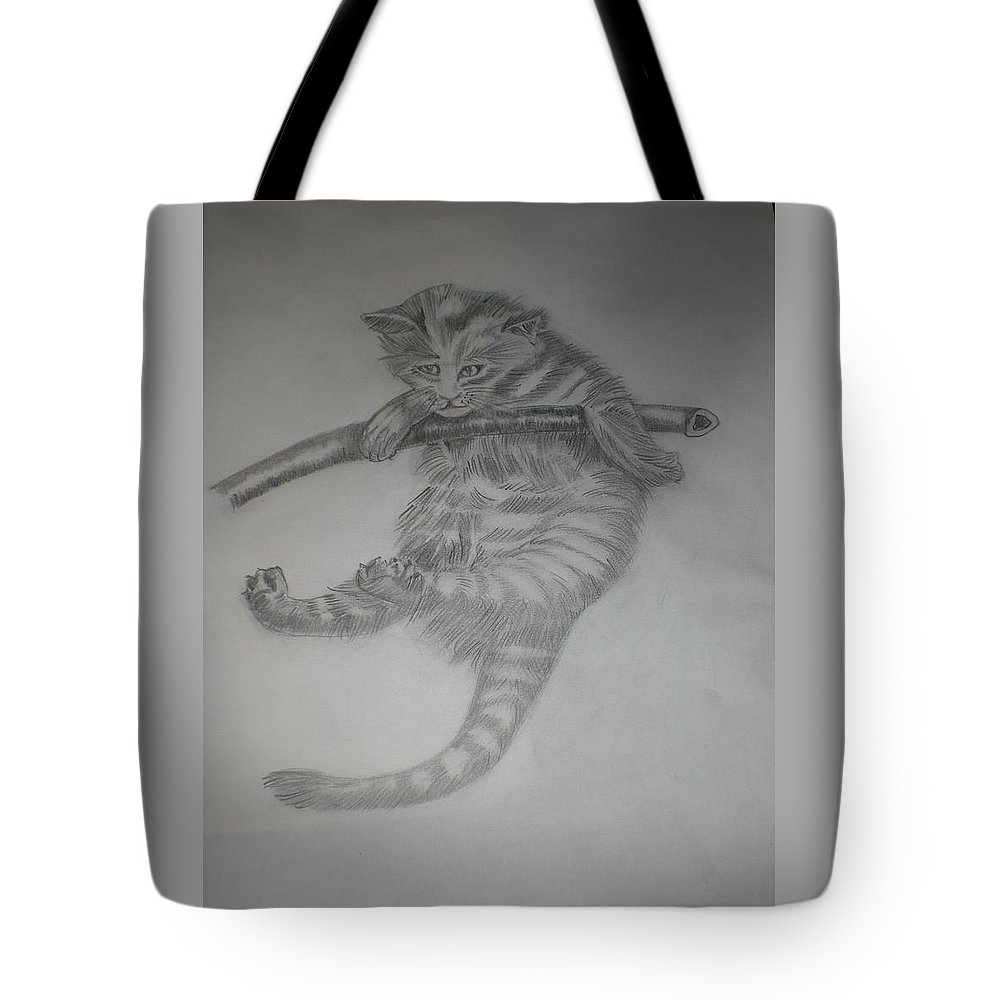 Climber Tote Bag featuring the drawing Climber Cat by Ramon Bendita