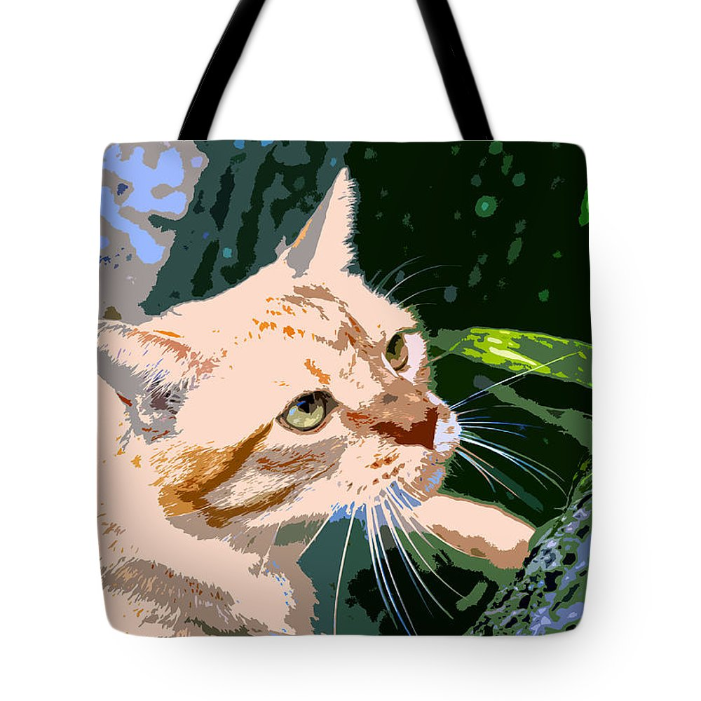 Feline Tote Bag featuring the painting Climbing Cat by David Lee Thompson