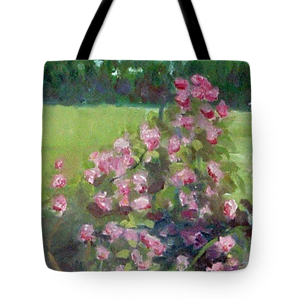 Minneapolis Rose Gardens Tote Bag featuring the painting Climbing Roses At The Rose Gardens by Paul Thompson