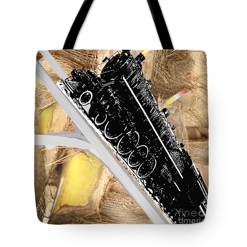 Transportation Tote Bag featuring the painting Climbing Steep Mountain by Belinda Threeths