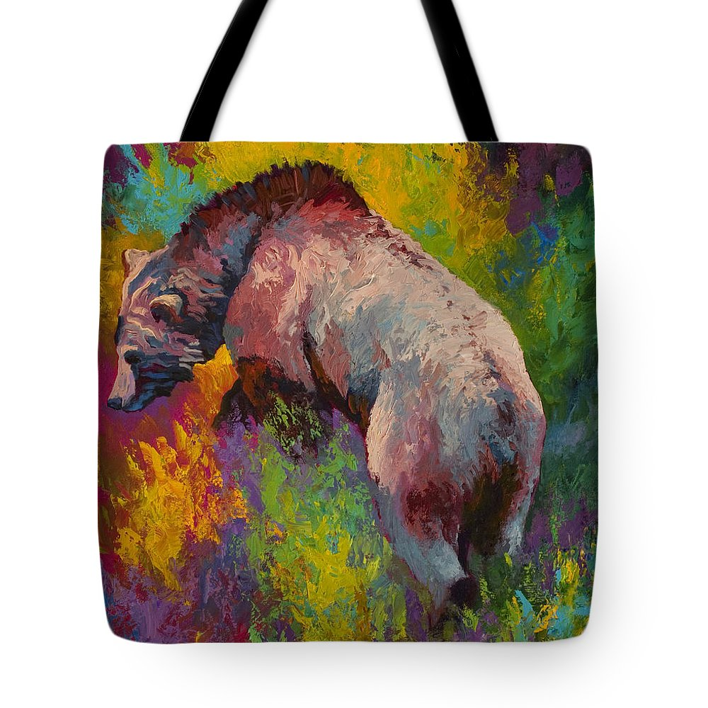 Western Tote Bag featuring the painting Climbing The Bank - Grizzly Bear by Marion Rose