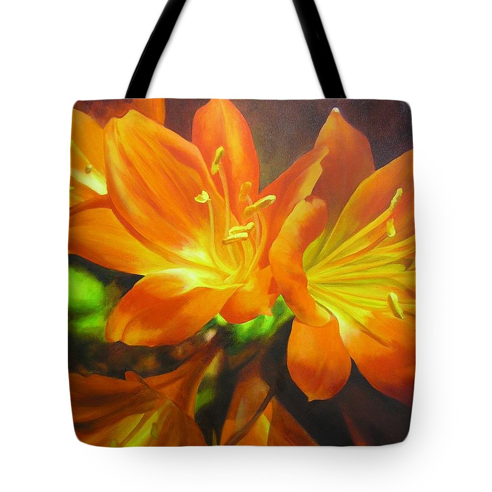Flower Painting Tote Bag featuring the painting Clivias by Chris Hobel