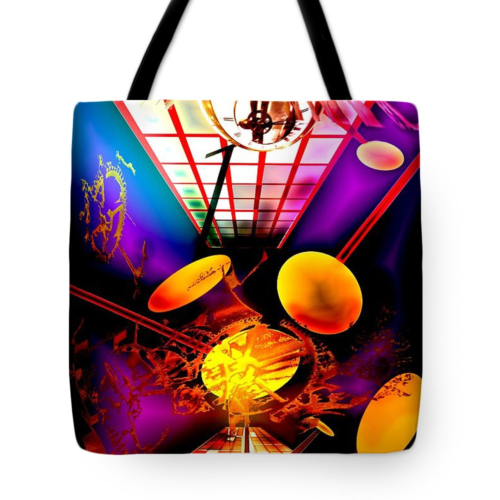 Clock Tote Bag featuring the digital art Clock-sync by Helmut Rottler