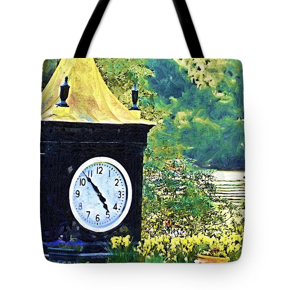 Clock Tote Bag featuring the photograph Clock Tower In The Garden by Donna Bentley