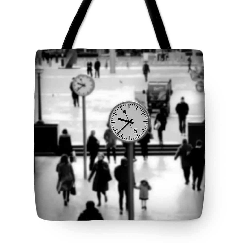 Clock Tote Bag featuring the photograph Clocks by Milton Cogheil