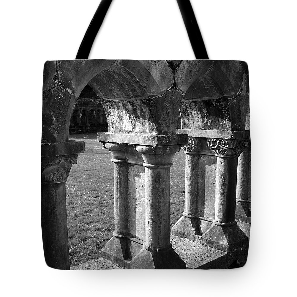 Irish Tote Bag featuring the photograph Cloister At Cong Abbey Cong Ireland by Teresa Mucha