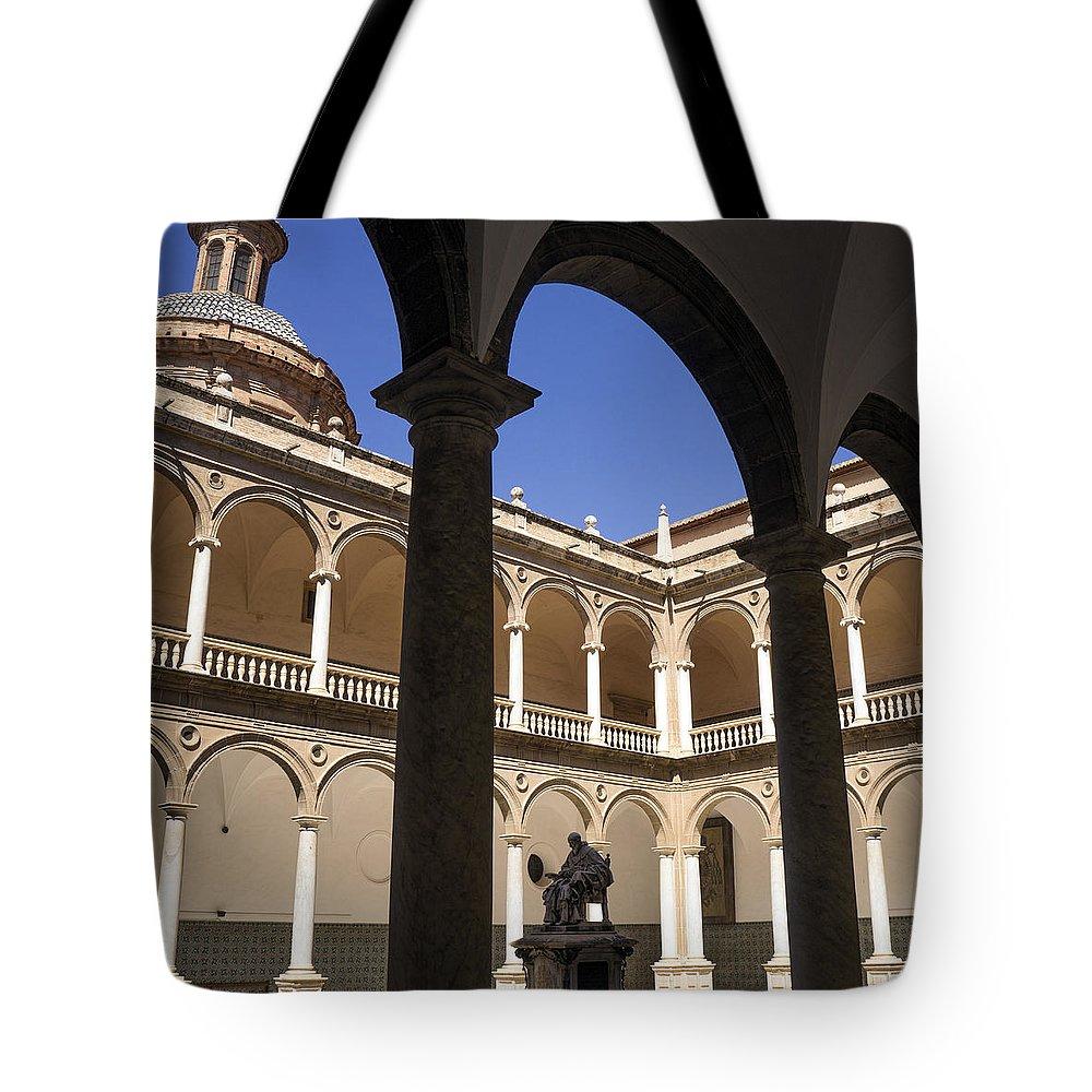 Real Colegio Seminario Del Corpus Christi Tote Bag featuring the photograph Cloister Real Colegio Seminario Del Corpus Christi by For Ninety One Days
