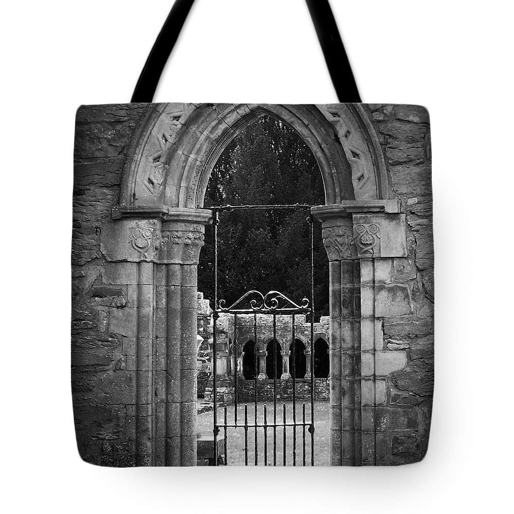 Irish Tote Bag featuring the photograph Cloister View Cong Abbey Cong Ireland by Teresa Mucha