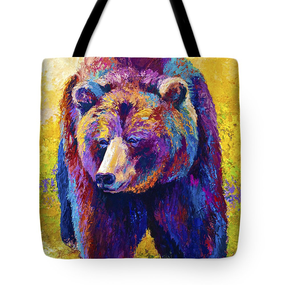 Western Tote Bag featuring the painting Close Encounter - Grizzly Bear by Marion Rose