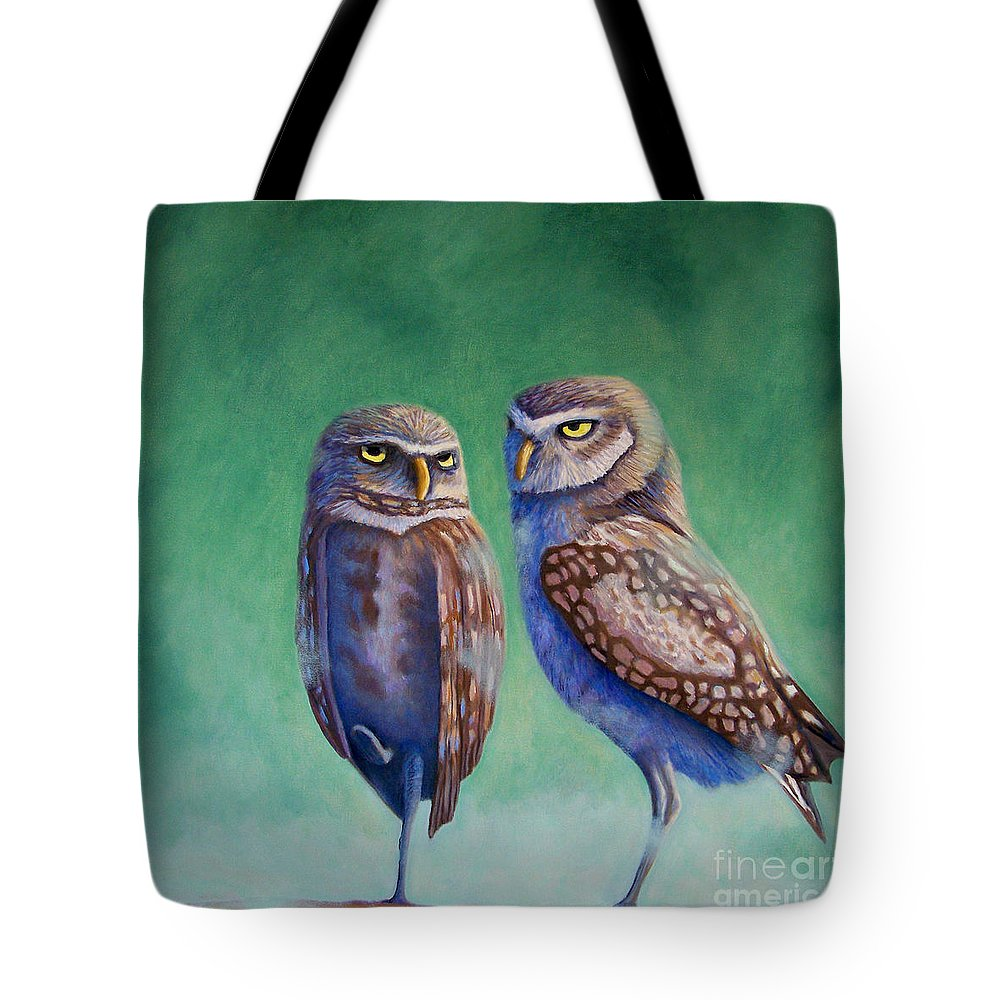Owls Tote Bag featuring the painting Close Encounters by Brian Commerford
