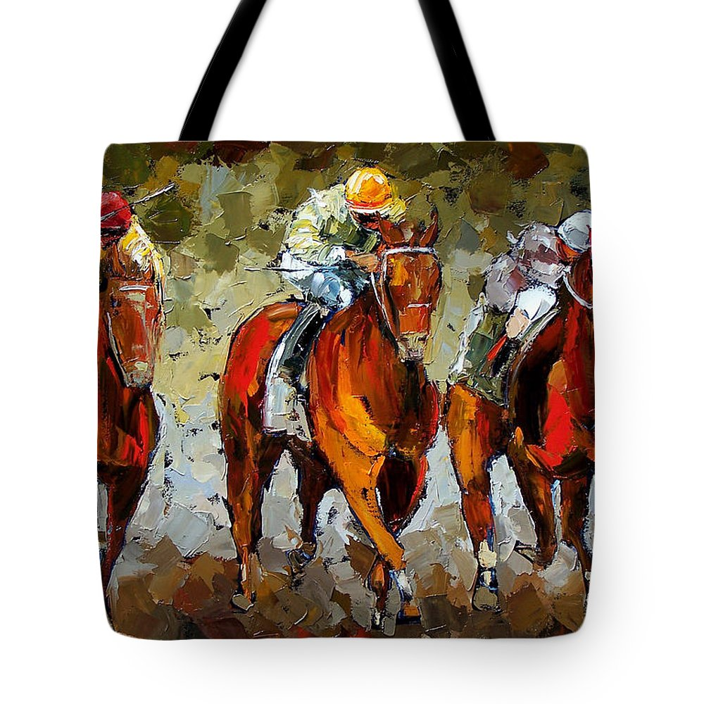 Horses Tote Bag featuring the painting Close Race by Debra Hurd