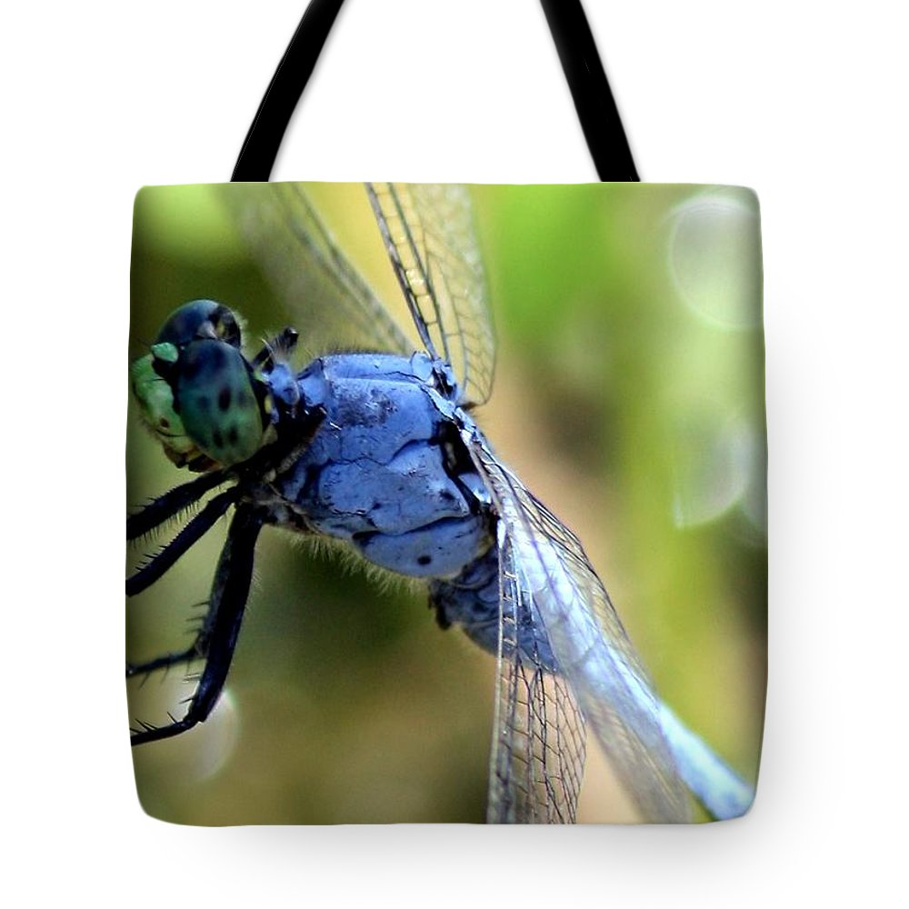 Ponds Tote Bag featuring the photograph Closeup Of Blue Dragonfly by Carol Groenen