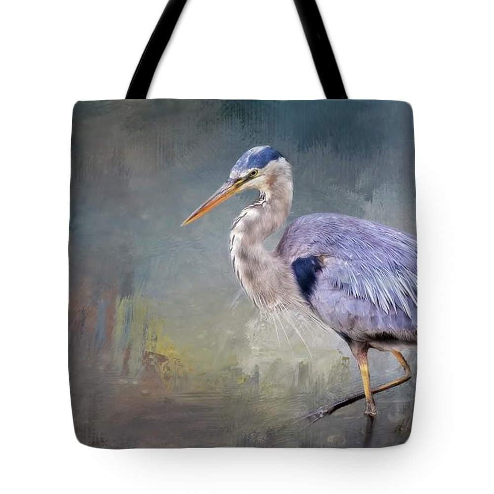 Great Blue Heron Tote Bag featuring the photograph Closing-in, Great Blue Heron by Zayne Diamond Photographic