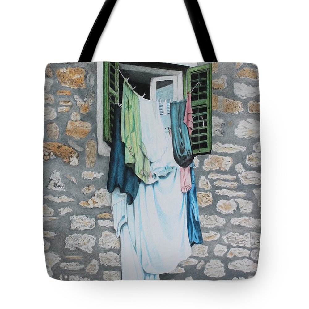 Drawing Tote Bag featuring the drawing Clotheslines In Dobrovnik by Wilfrid Barbier