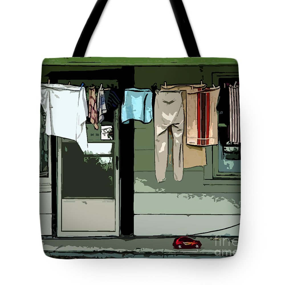 Cloths Line Tote Bag featuring the digital art Cloths Line by Jacqueline Milner