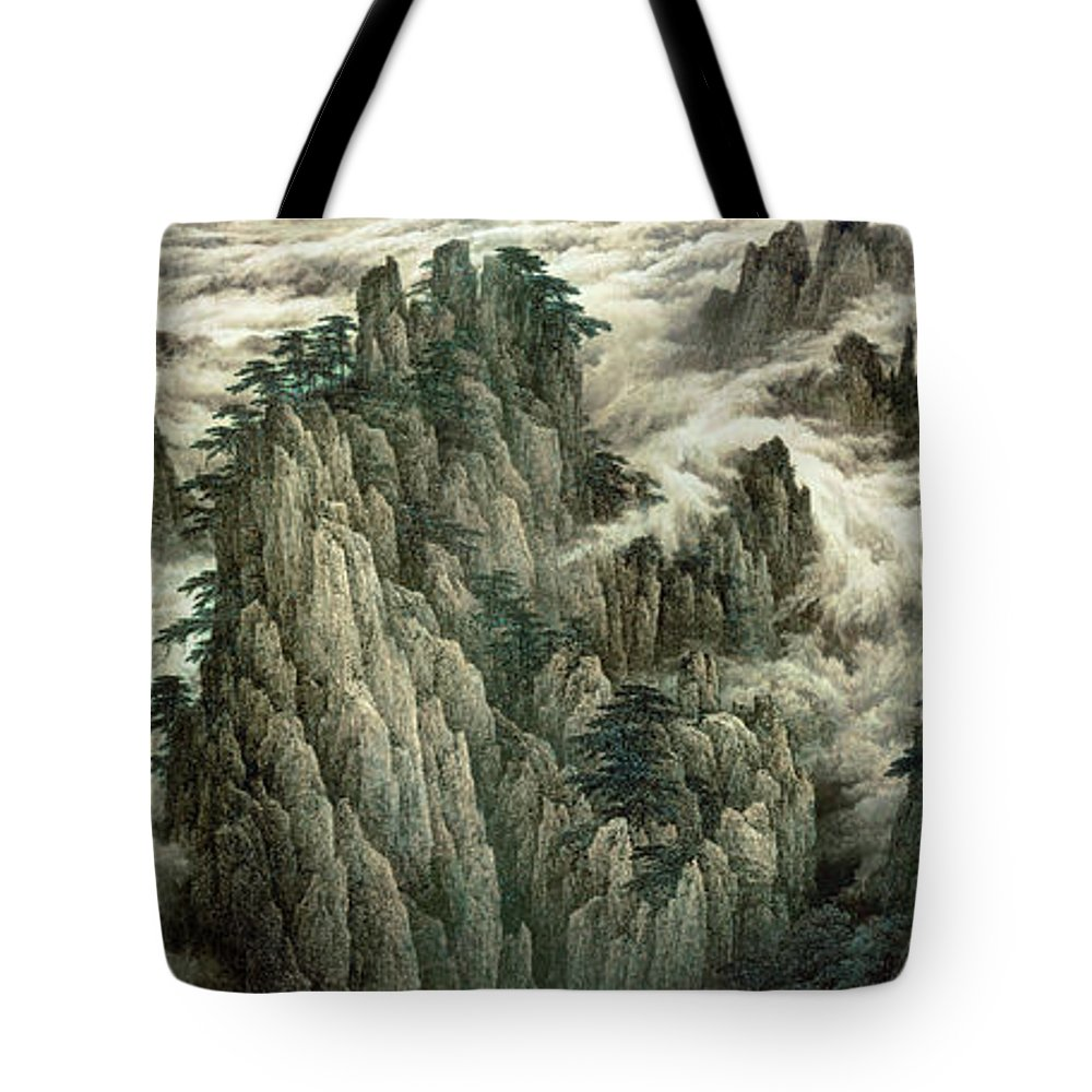 Cloud And Mountain Peak Tote Bag featuring the painting Cloud And Mountain Peak by Dong Xiyuan
