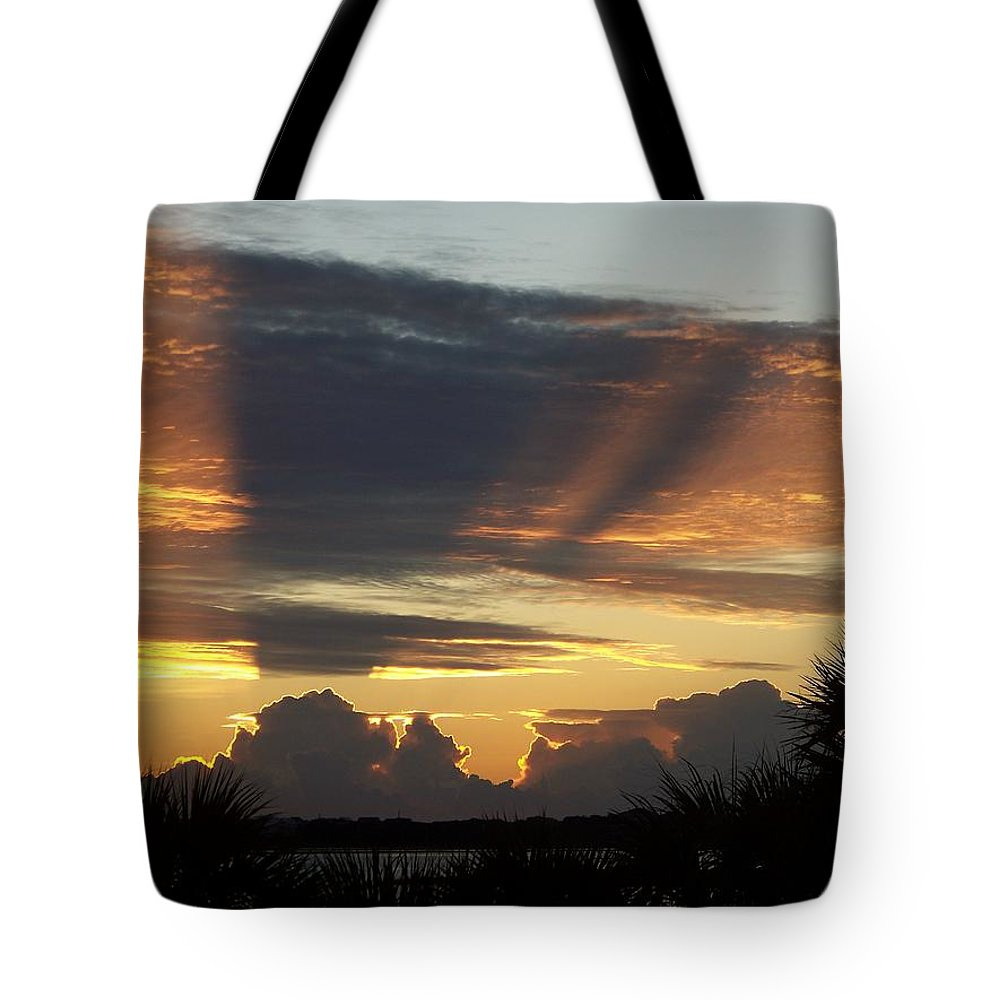 Sunsets Tote Bag featuring the photograph Cloud Cast Glory by Karen Wiles