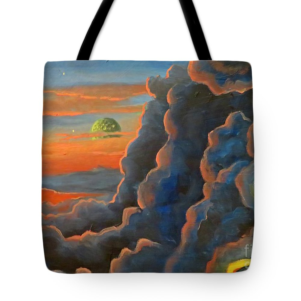 Cloud Gods Tote Bag featuring the painting Cloud Gods by John Malone