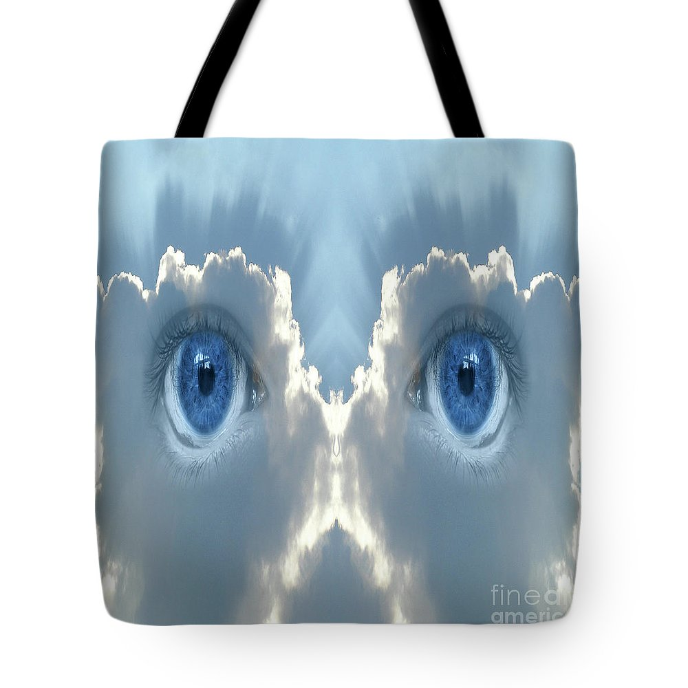 Cloud Tote Bag featuring the digital art Cloud Mask by Neil Finnemore
