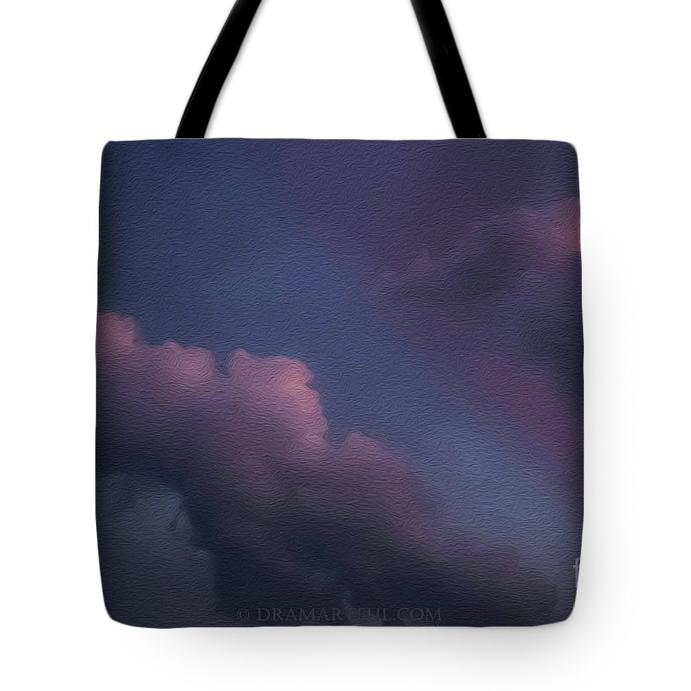 Abstract Tote Bag featuring the photograph Cloud Race by Maria Costello