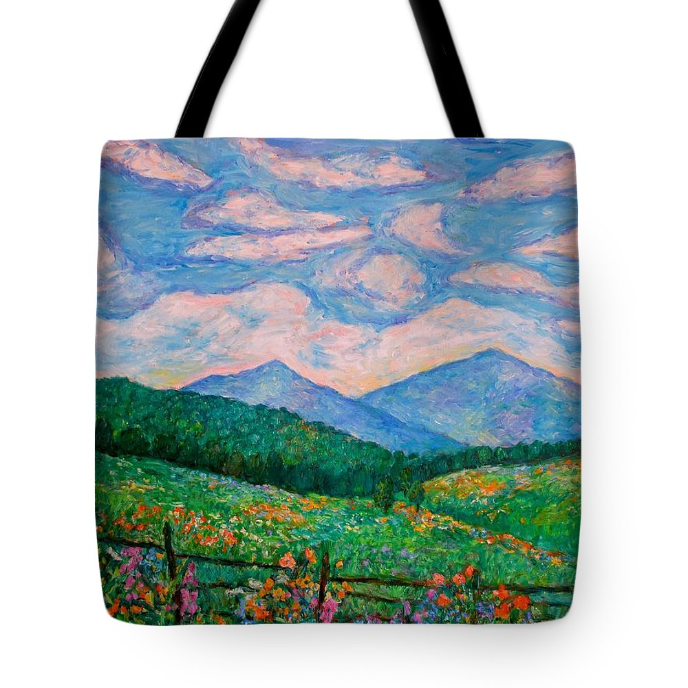 Kendall Kessler Tote Bag featuring the painting Cloud Swirl over The Peaks of Otter by Kendall Kessler