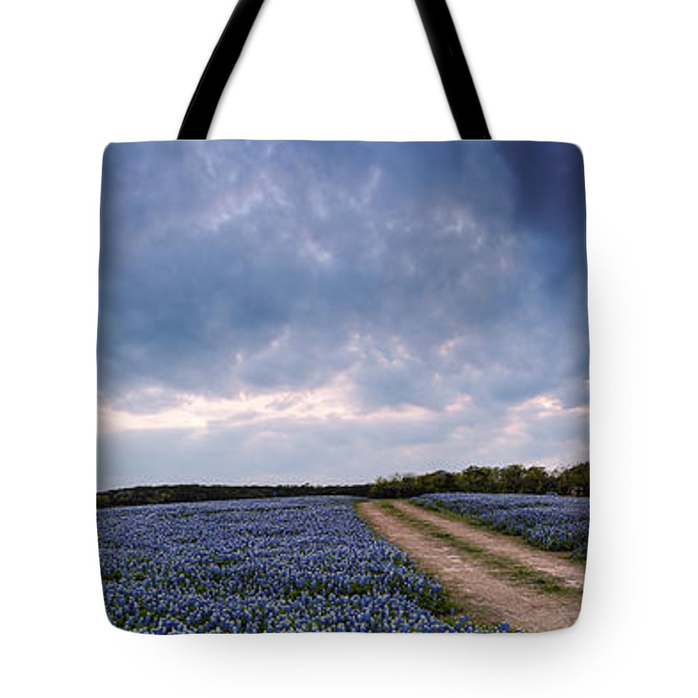 Central Tote Bag featuring the photograph Cloud Vortex Over Bluebonnets At Muleshoe Bend Recreation Area - Spicewood Texas Hill Country by Silvio Ligutti