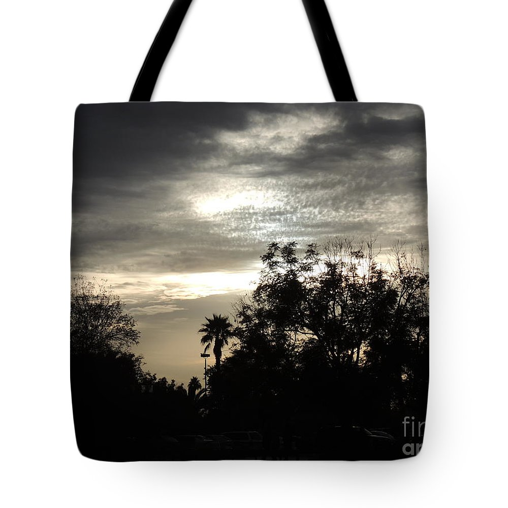 Palm Tote Bag featuring the photograph Clouds And Silhouetted Trees by Jim Williams Jr