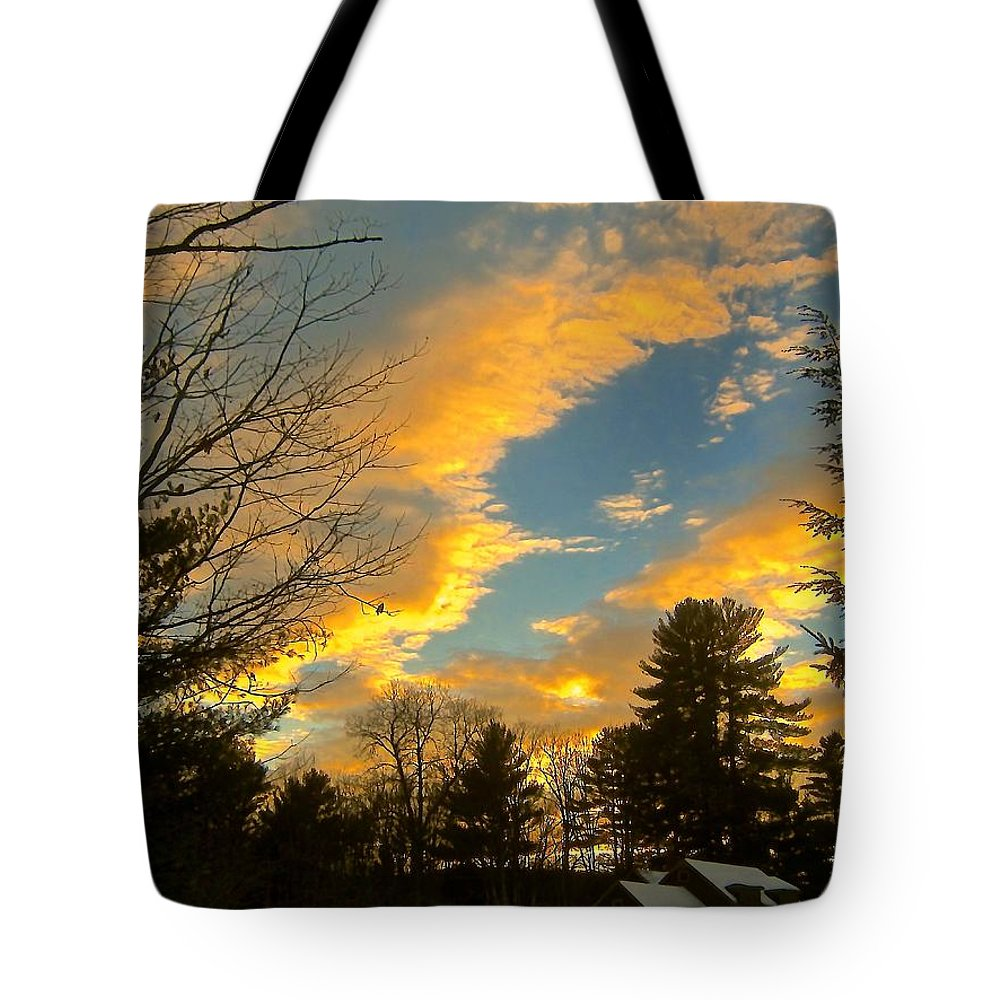 Tote Bag featuring the photograph Clouds Catching The Evening Light by Elizabeth Tillar