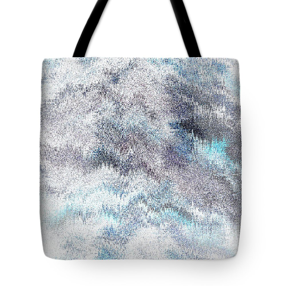 Abstract Tote Bag featuring the digital art Clouds Filled With Snow by Lenore Senior