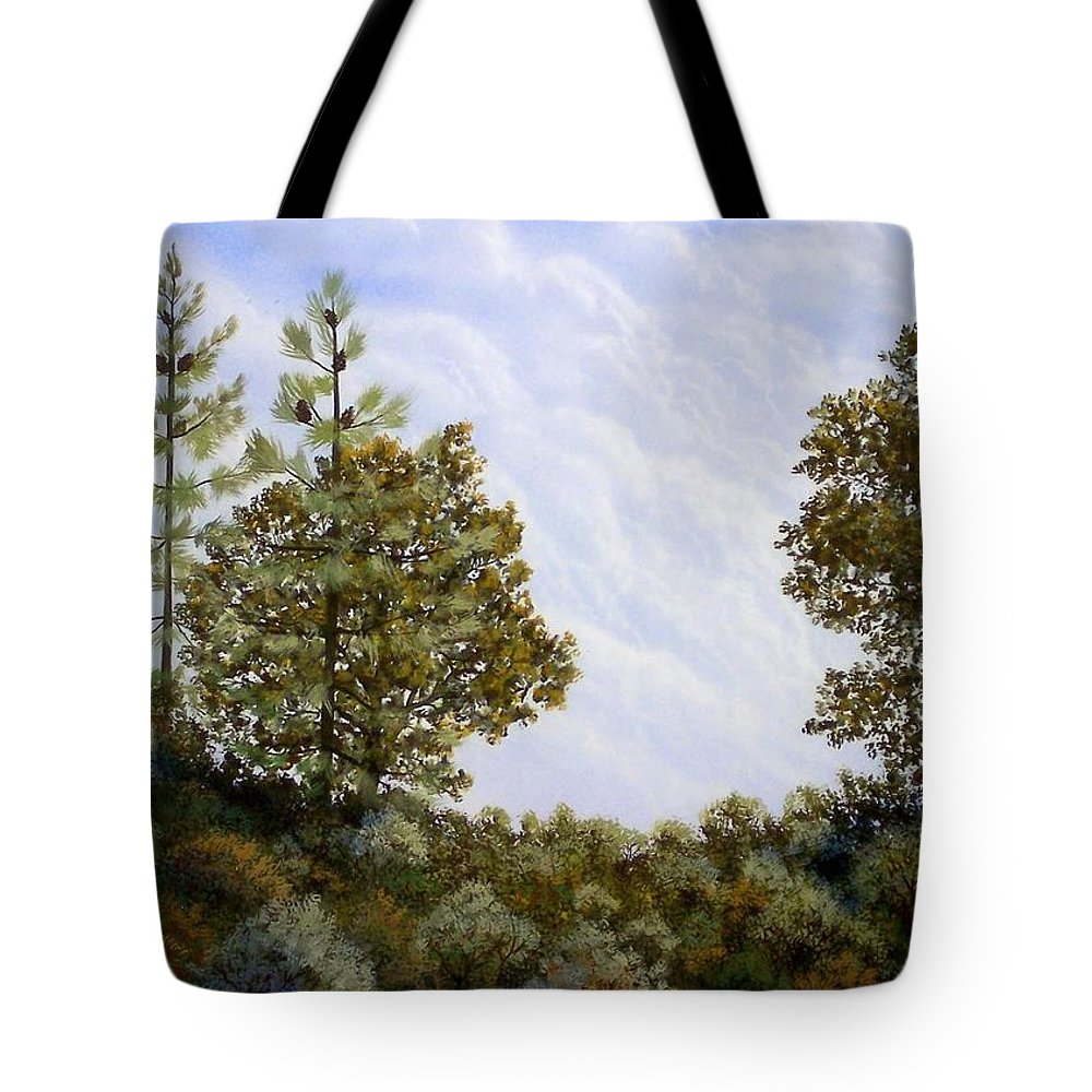 Landscape Tote Bag featuring the painting Clouds In Foothills by Frank Wilson