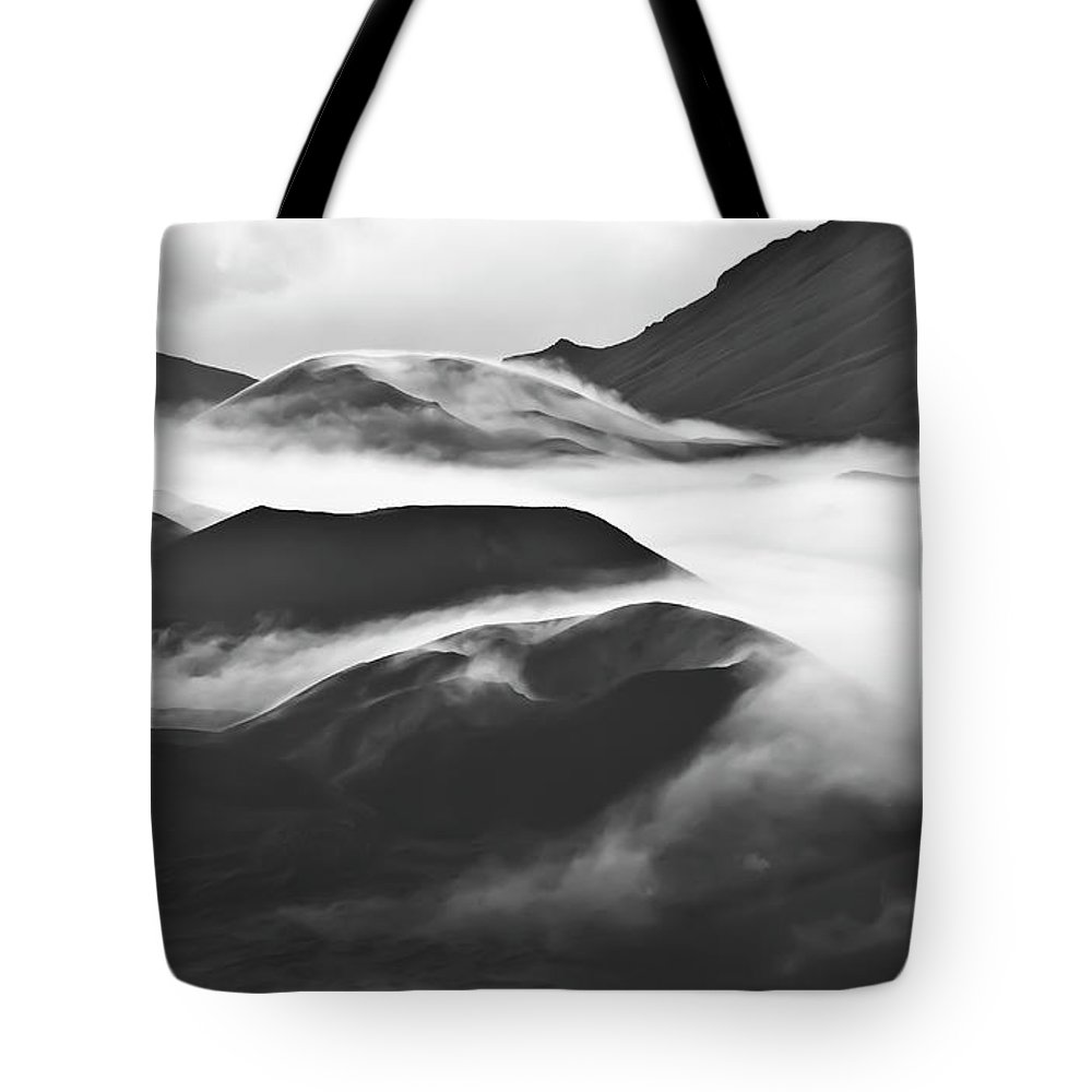 Mountains Tote Bag featuring the photograph Maui Hawaii Haleakala National Park Clouds In Haleakala Crater by Jim Cazel