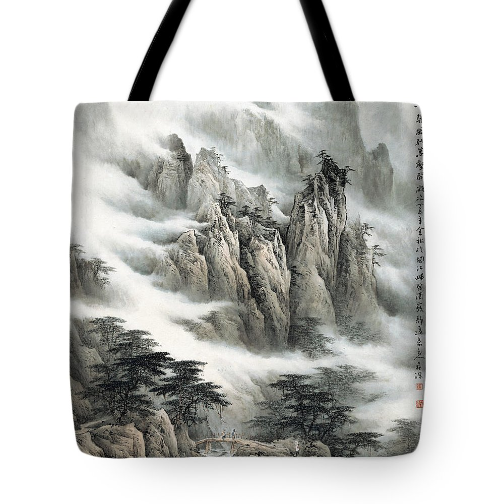 Clouds In The Mountain Tote Bag featuring the painting Clouds In The Mountain by Dong Xiyuan