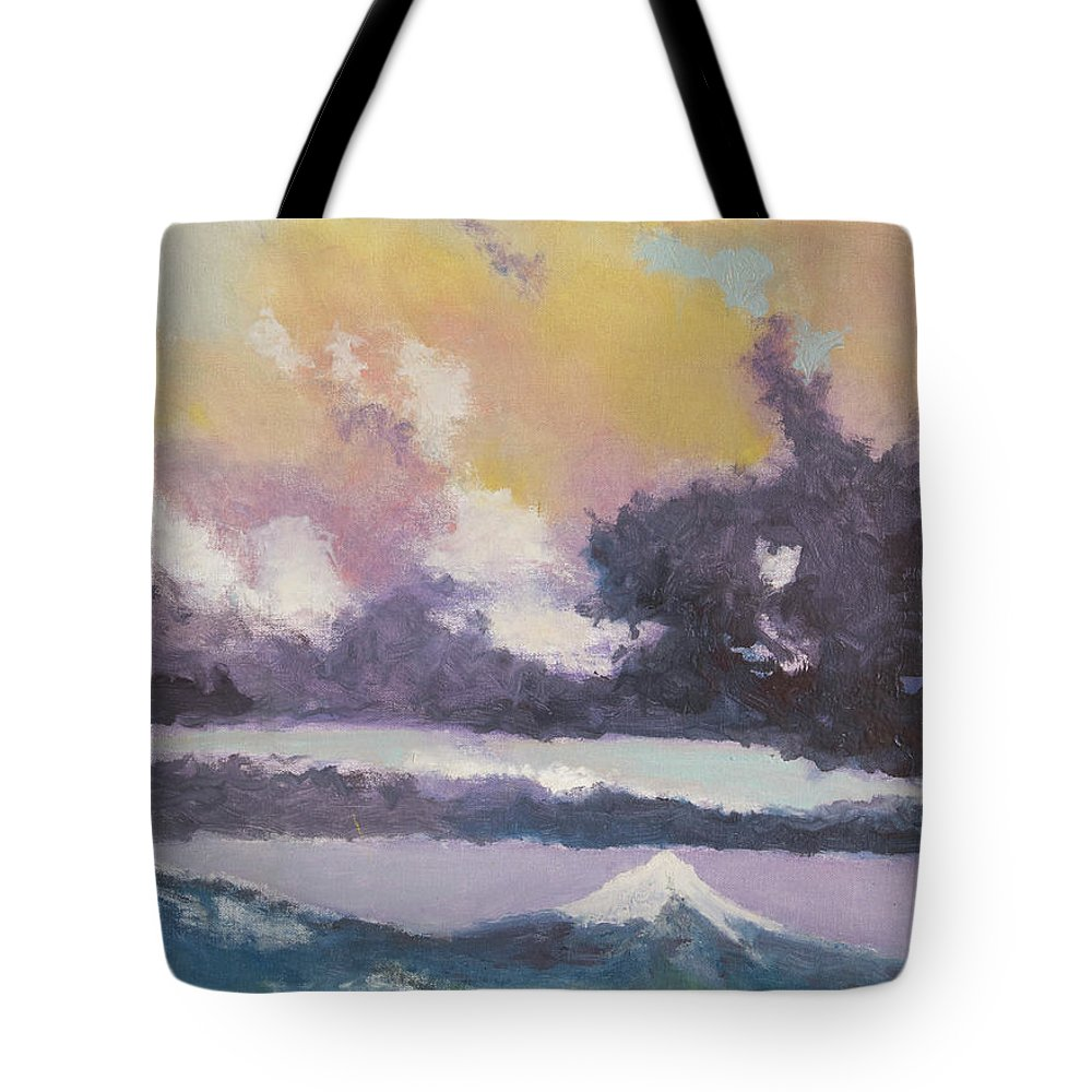 Mountain Tote Bag featuring the painting Clouds Of Mt Hood by Craig Newland