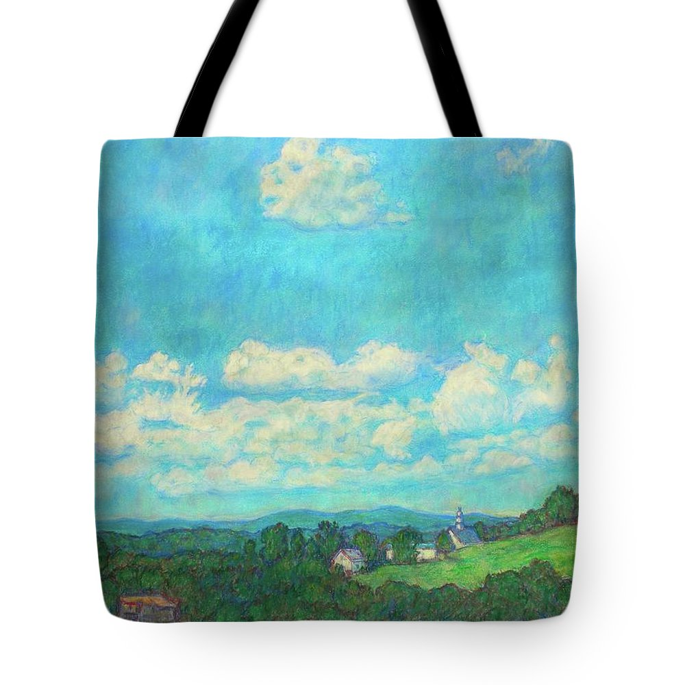 Landscape Tote Bag featuring the painting Clouds Over Fairlawn by Kendall Kessler