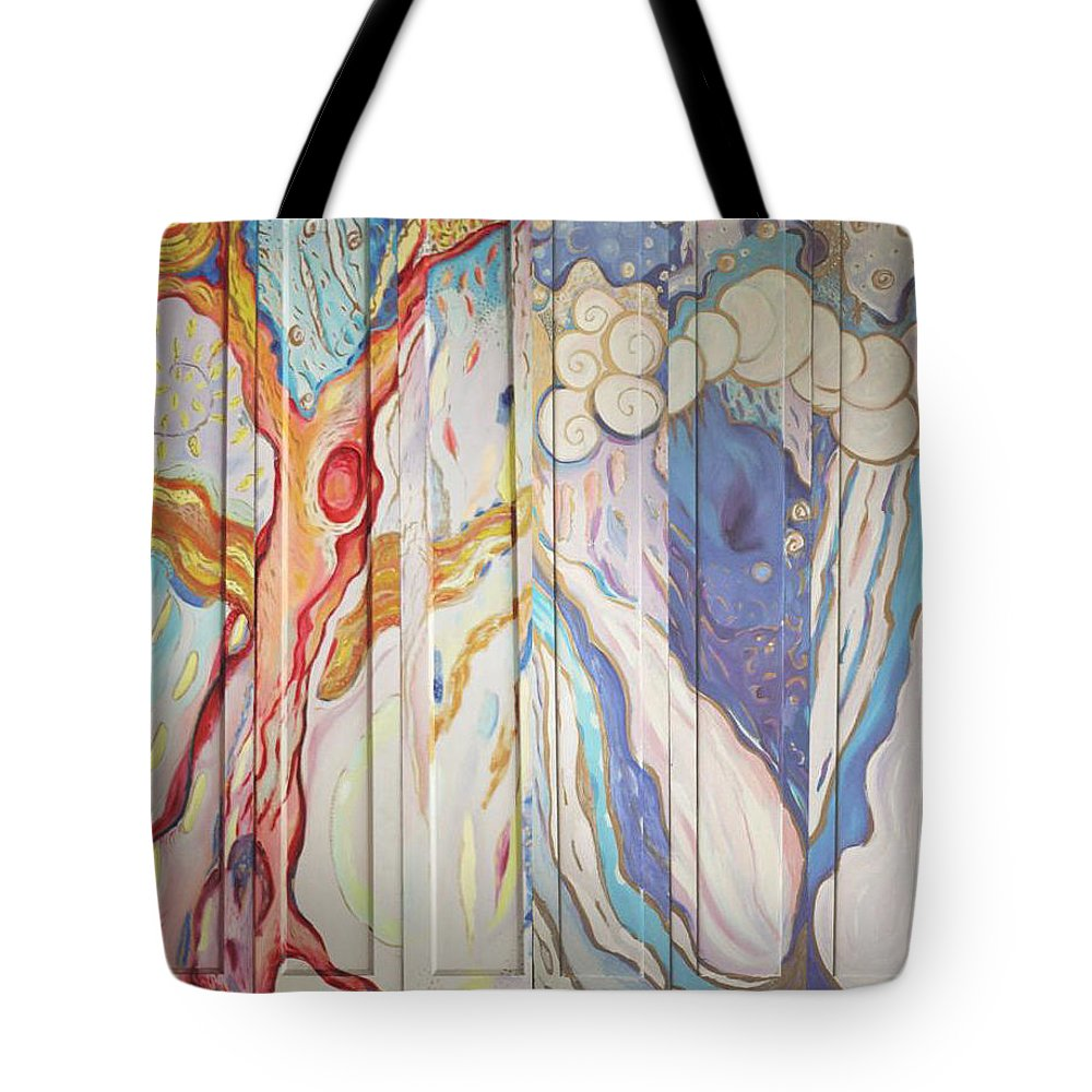 Dreamy Tote Bag featuring the painting Clouds Screen by Jelila