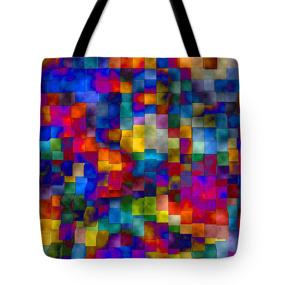 Abstract Tote Bag featuring the digital art Cloudy Cubes by Ruth Palmer