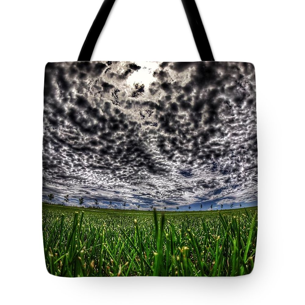 Cloud Tote Bag featuring the photograph Cloudy Sky's Grassy Field by Twoblueowls Photography