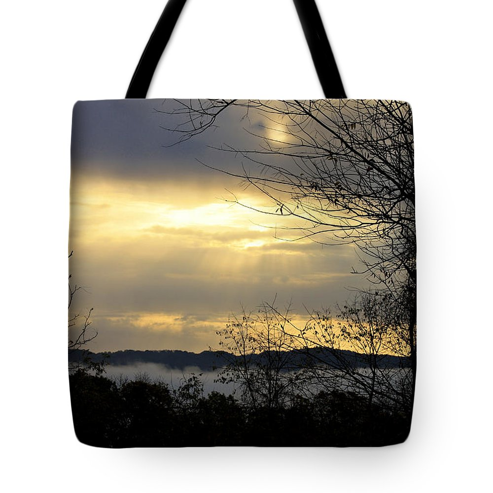 Sunrise Tote Bag featuring the photograph Cloudy Sunrise 2 by Teresa Mucha