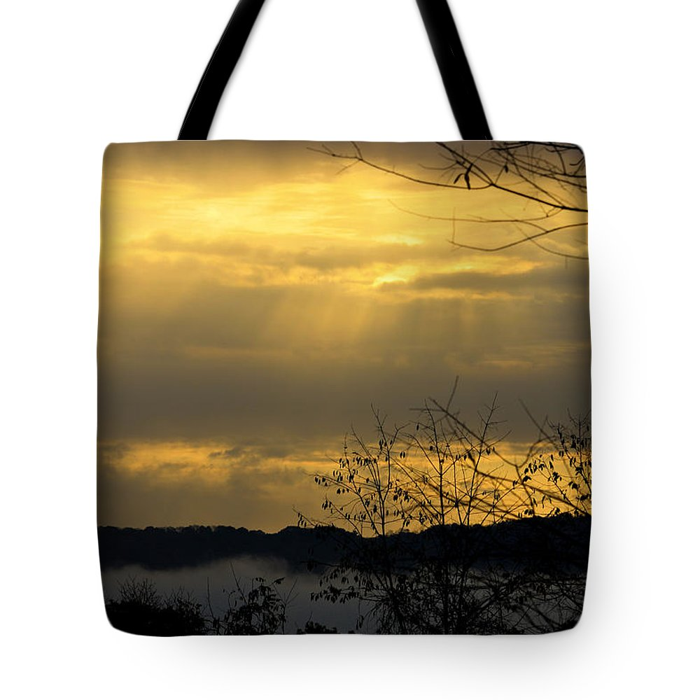 Sunrise Tote Bag featuring the photograph Cloudy Sunrise 3 by Teresa Mucha