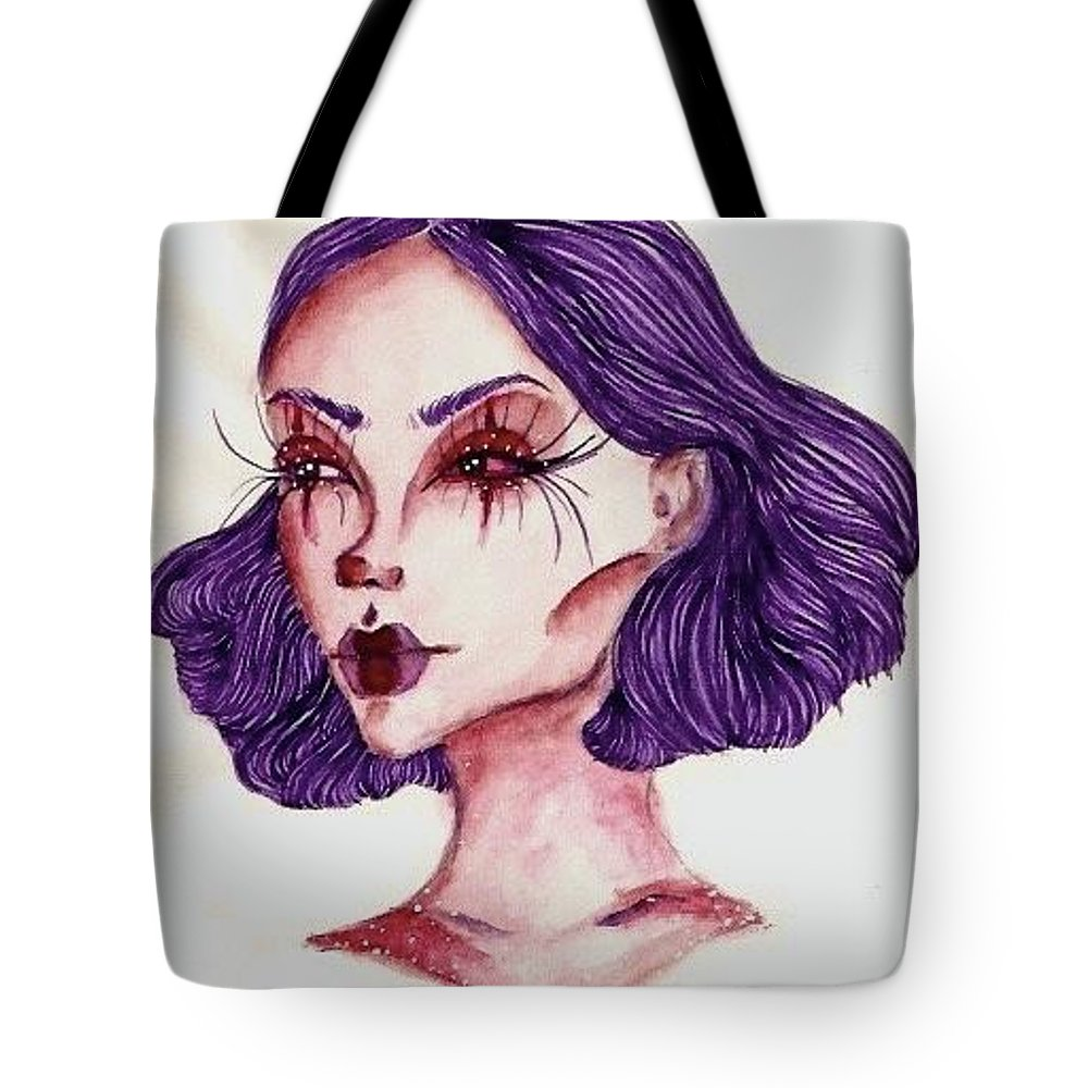 Creepy Tote Bag featuring the painting Clown Girl by Alyssa Torres